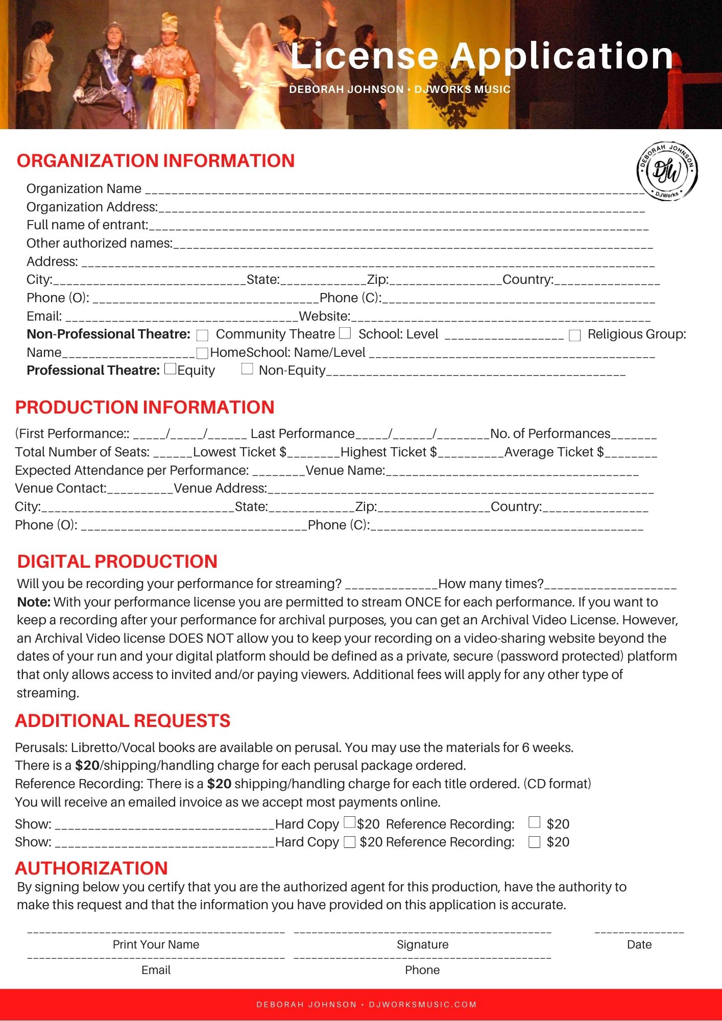 Musical License Form DJWorksMusic