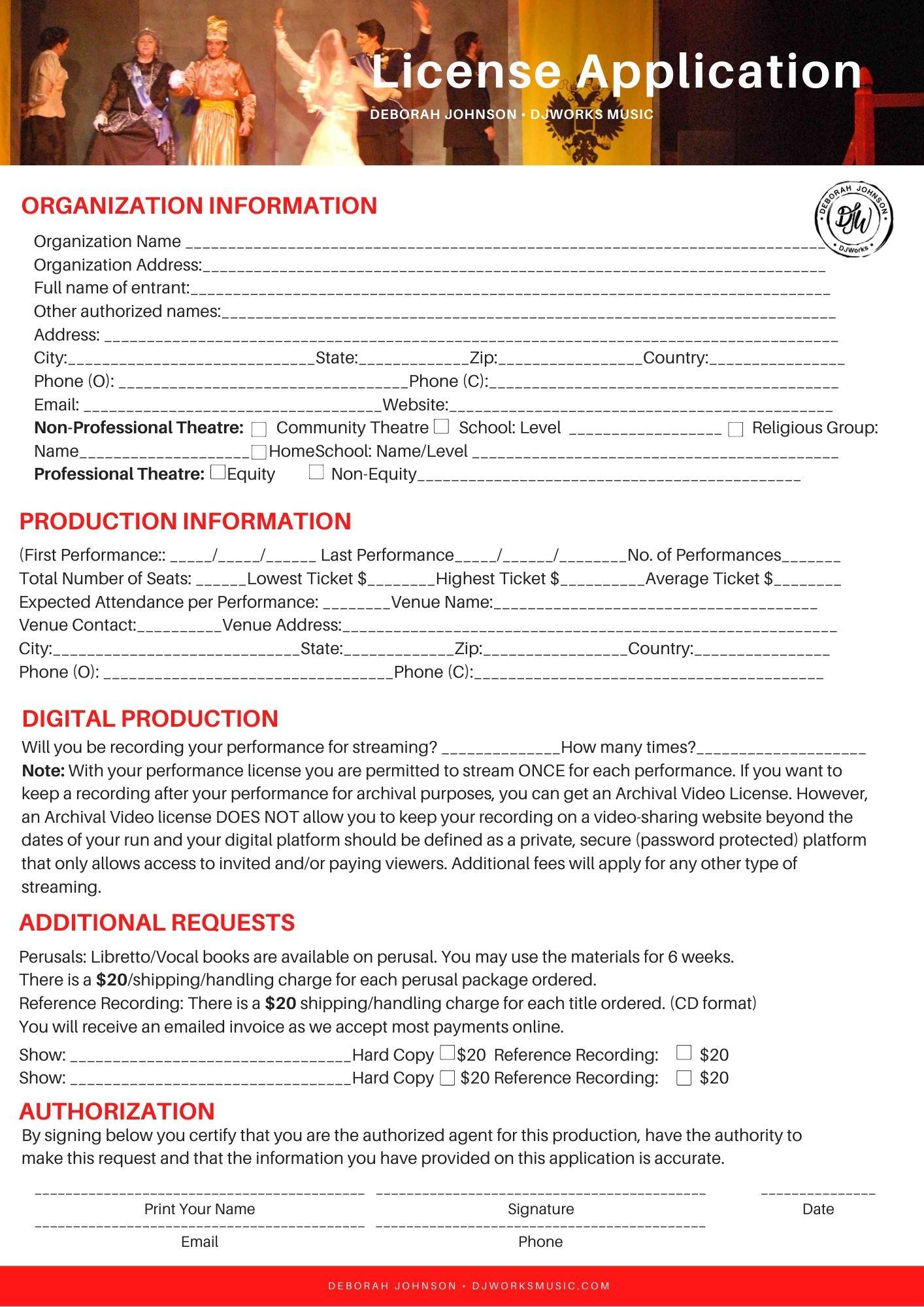 Musical License Form DJWorksMusic